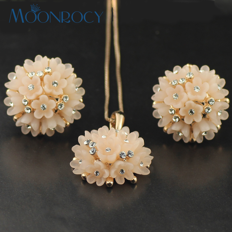 f22ddeec9d2c51 MOONROCY Free Shipping fashion crystal necklace and earrings set Zirconia  Rose Gold Color Jewelry Set wholesale fashion Gift
