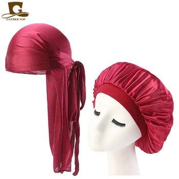 Fashion Men's Durag Headwear Durags and Bonnets Women  Comfortable Cap Couple 2pcs sets 6