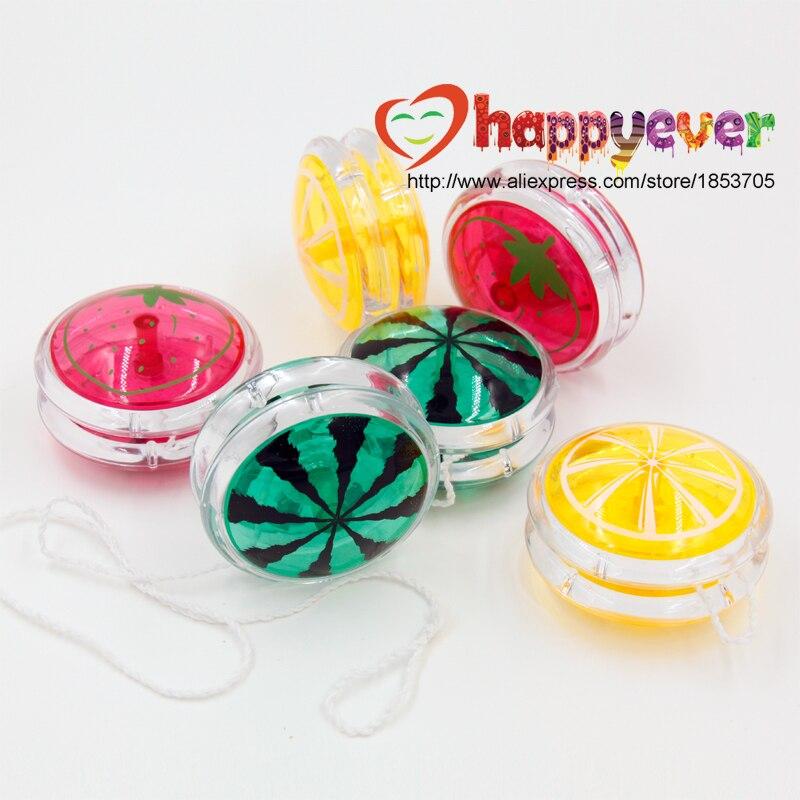 6 PCS Quality Classic Beginners Yo Yos Party Kids Fun Plastic Toys Gift Goody Bag Rewards Pinata Filler Fruit Green Yellow Red