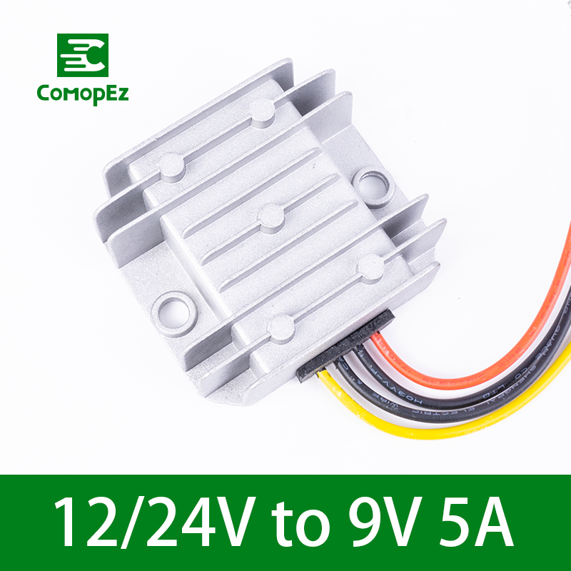 Voltage Converter 12V 24V to 9V 5A DC DC Requency Converter Reducer IP68 Step Down Module Power Supply for Cars Lights in Inverters Converters from Home Improvement