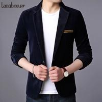 2019 New Fashion Brand Blazer Jacket Men Korean Velvet Slim Fit Suits Coat Party Navy Single Button Party Casual Men Clothing