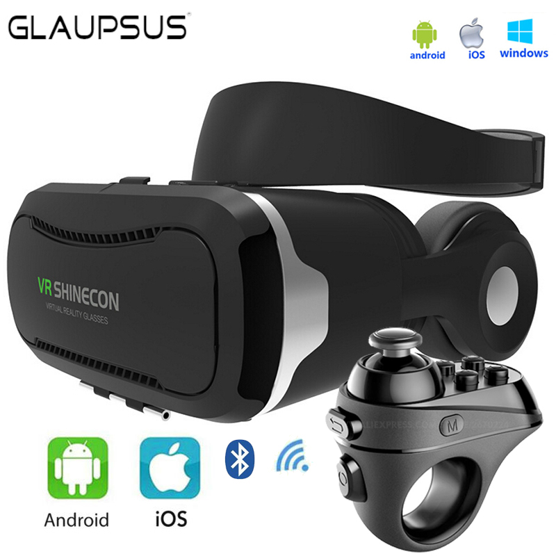 2017 VR Shinecon 4.0 3D Virtual Reality Headset for 4.7-6.0 Inches Smartphones with R1 Gamepad