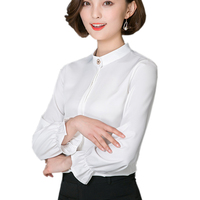 Loose Korean Long Sleeve Ladies Office Wear White Shirt Women Blouse 2017 Tops Autumn Solid Color