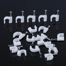 цена на 100Pcs Multiple Models Cable Holder Plastic Round Cable Wire Clips With steel Nails Cable Management Wall Harness Clamp