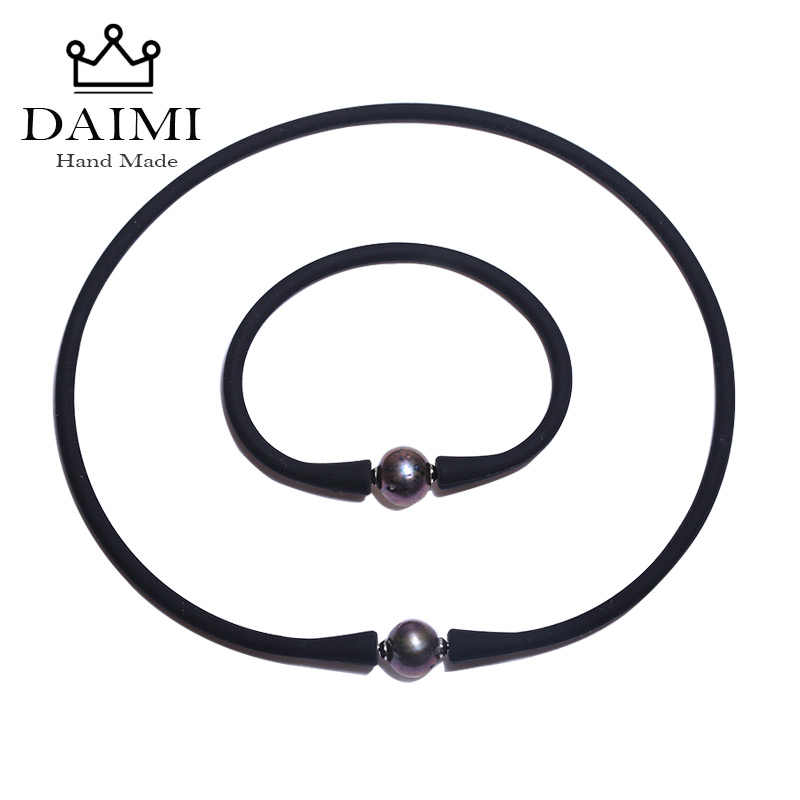 DAIMI Black Silicone Hologram Necklace Bracelet Set 11mm Black Freshwater Pearl Set  Waterproof Jewelry Sets  Casual/Sporty