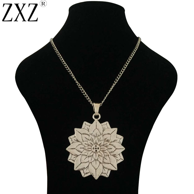 Large Abstract Metal Flower Spiral Pendant on Long Curb Chain Necklace Lagenlook