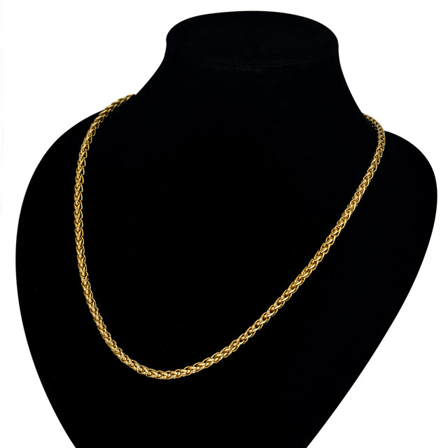 Online shop mens gold chain necklace for menwomen jewelry 20 23 mens gold chain necklace for menwomen jewelry 20 23 26 gold color stainless steel rope chain necklaces male collier aloadofball Choice Image