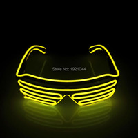 2017 New 100pcs EL Wire Fashion LED Lighting Flashing Shutter Shaped Glasses For Costume Dance Festival