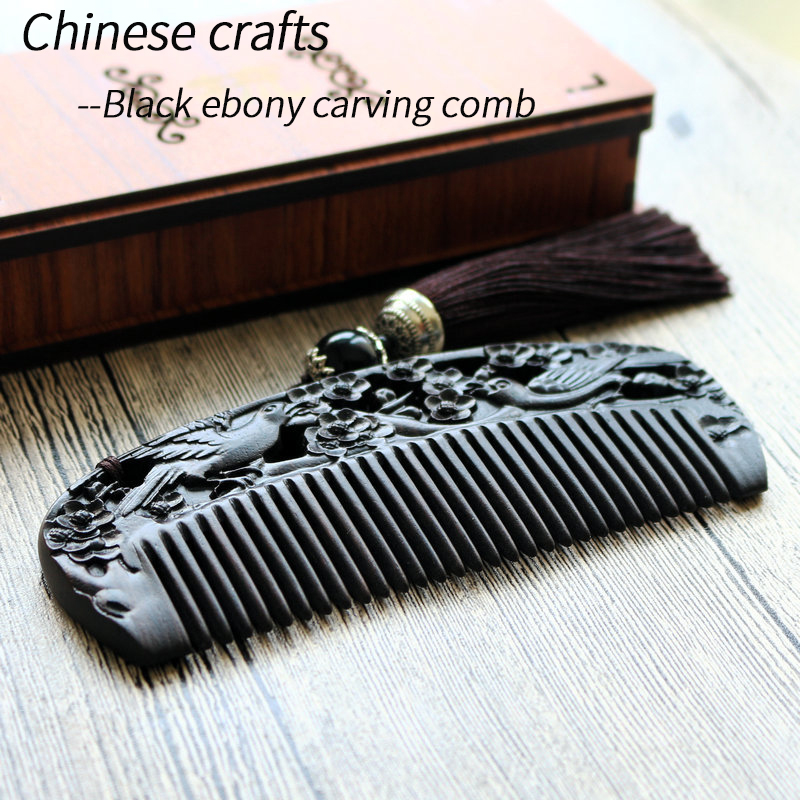 Chinese Craft Africa Ebony Carved Wood Comb Portable Multifunction Comb High Quality Africa Ebony Golden Comb Collection ForGift