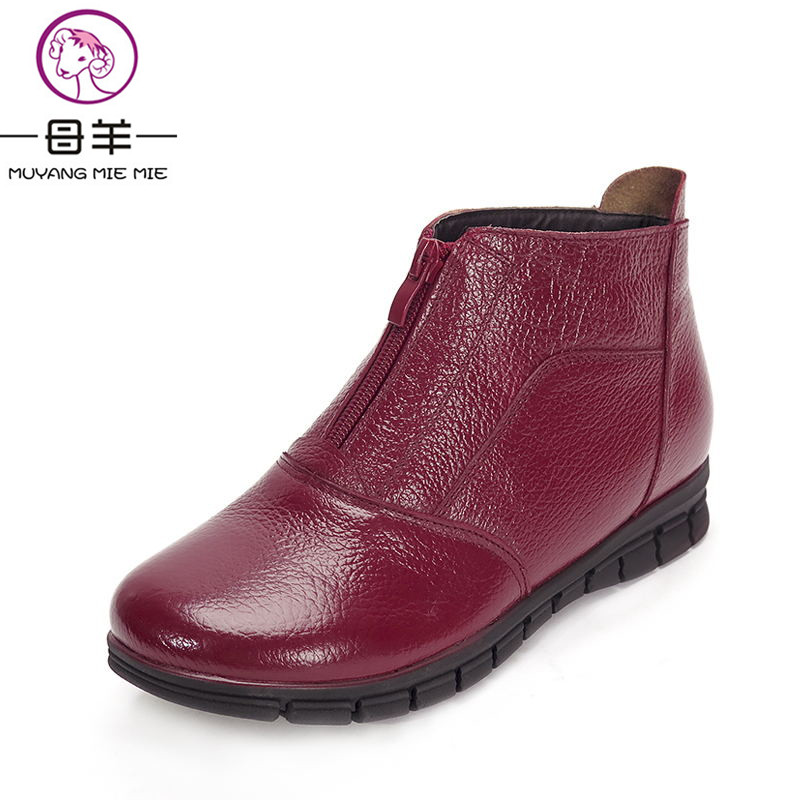 MUYANG MIE MIE 2018 Fashion Winter Boots Women Genuine Leather Flat Ankle Boots Casual Warm Shoes Woman Snow Boots Women Boots