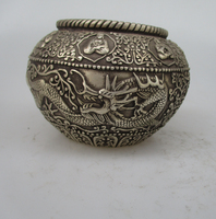 Antique antiques Collectible Decorated Old Handwork Tibet Silver Carved dragon jars/ Decorative bottles