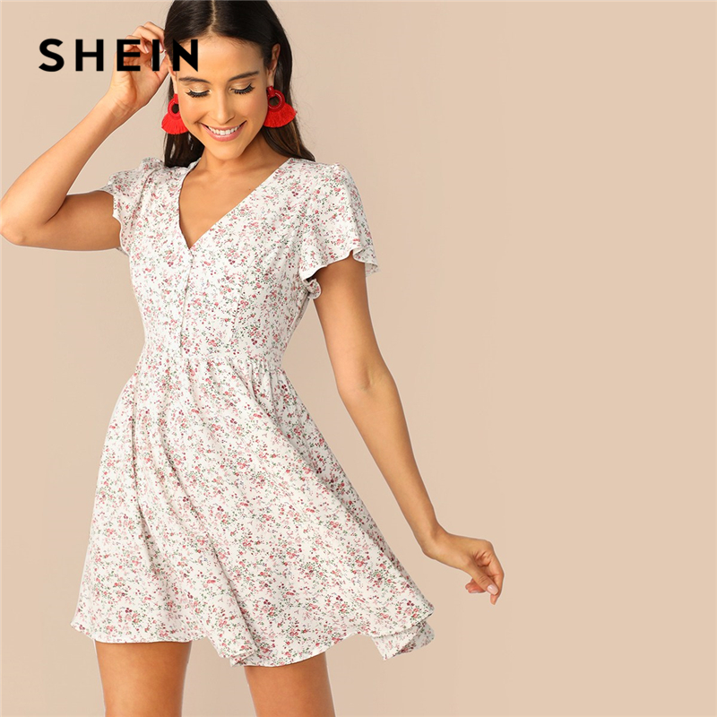 SHEIN Multicolor V Neck Flutter Sleeve Ditsy Floral Print Summer Mini Dress Women Fit And Flare A Line Casual Bohemian Dresses