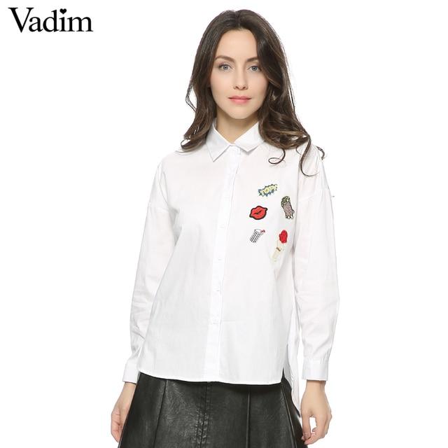 Blusa de algodón rayada suelta de palomitas de maíz con labios bonitos para mujer camiseta de parche de manga larga para trabajo de oficina LT1043