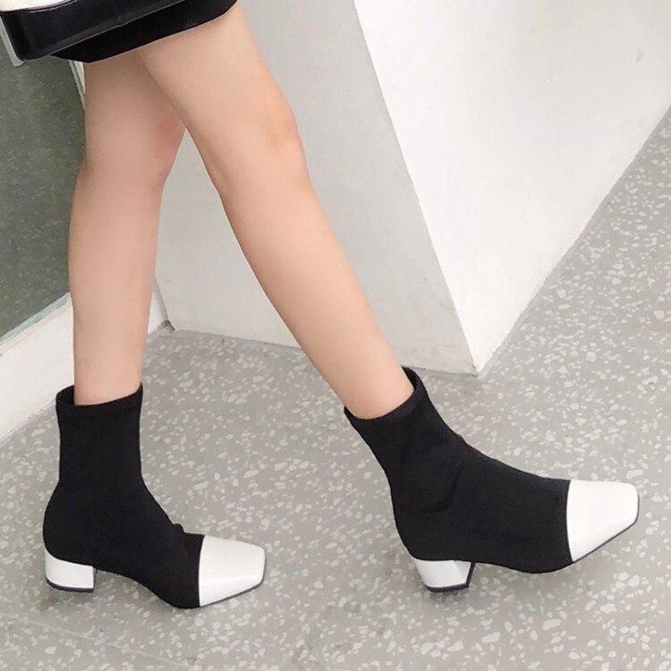 2018 Talón De Las Elástico Tobillo Casual Negro blanco Bajo Mujer Mujeres Invierno Nuevo Botas Otoño Calcetines Zapatos {zorssar} RxqdSR