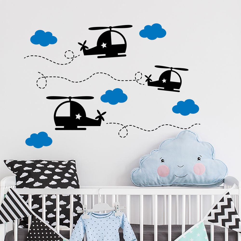 Hot Sale Airplane Wall Decal Cloud Sticker Boy Room Decor