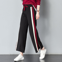 2018 Spring Summer Fashion High Waist Wide Leg Pants Female Loose Casual Side Stripe Slit Nine