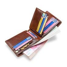 Moxi мужские кошельки из натуральной кожи, короткий кошелек для карт, Ретро кошелек, ID, держатель для кредитных карт, карманные кошельки мужские бумажники, кофе