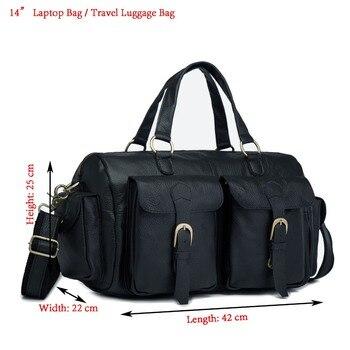 "Men Original Leather Fashion Business Briefcase Messenger Bag Male Design Travel 14"" Laptop Attache Case Tote Portfolio Bag 1097"