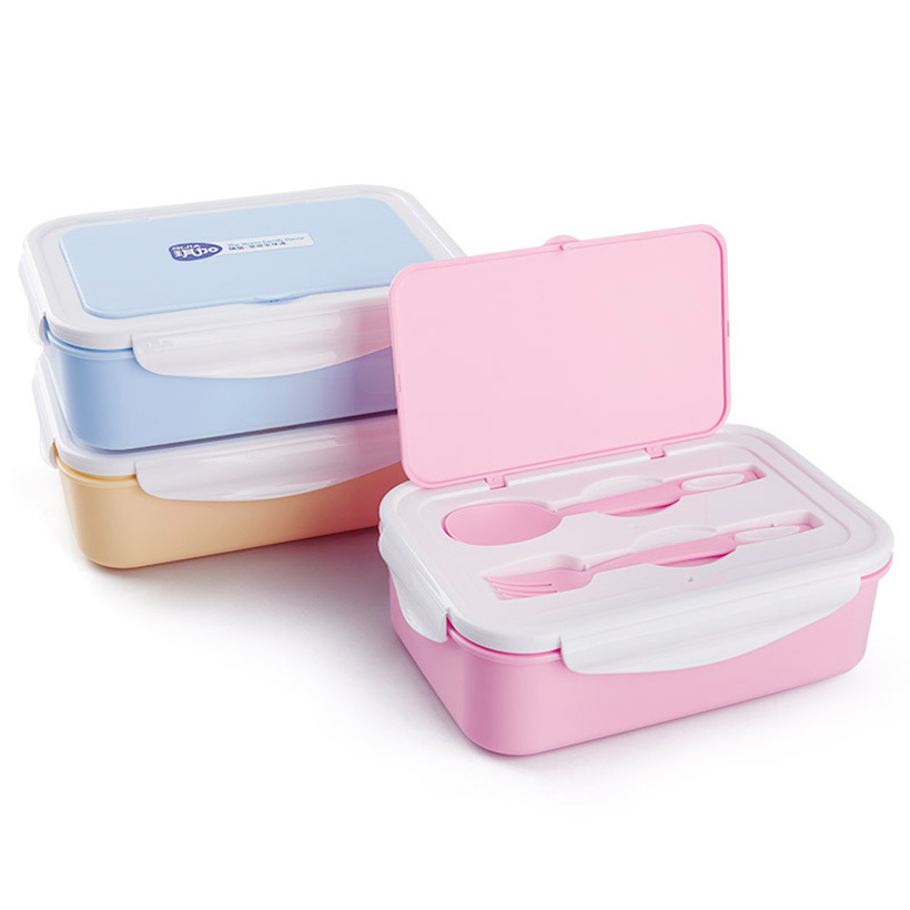 PFDIYF Portable 3 grid separated Lunch Box Microwave Food-Grade PP Lunch Box With Fork Spoon Bento Box Eco-Friendly 3 Colors