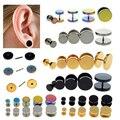 2Pcs Punk Stainless Steel Barbells Fake Ear Plug Stretcher Ear Tunnel Studs Women Men Body Piercing Jewelry 6/8/10/12/14mm
