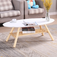 Mid Century Modern Oval Wood Center Table Living Room Furniture Contemporary Low Center Sofa Side Table Wooden Casual Tea Table