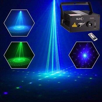 סאני 9 GB דפוסי לייזר אור כחול LED שלב אור סאונד הופעל Gobo מקרן להראות עבור מועדון בר DJ דיסקו בית מסיבת (Z09GB)