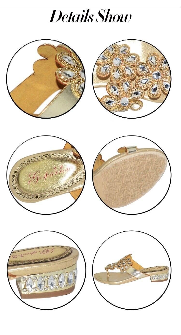 G-sparrow 2018 New Womens Fashion Rhinestones Slippers Flat Heels Flip Flops Gold Pink Size 11 High Quality6