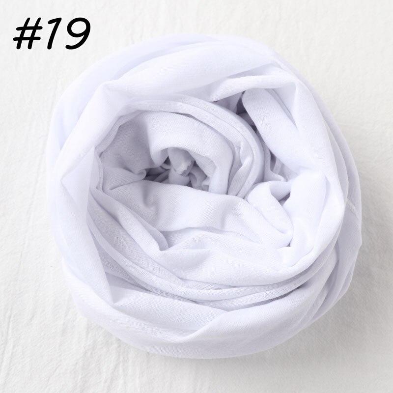 Один кусок хиджаб шарф Макси шали шарфы женские мусульманские хиджабы мусульманская леди палантин splid однотонное Джерси хиджаб 70x160 см - Цвет: 19 white