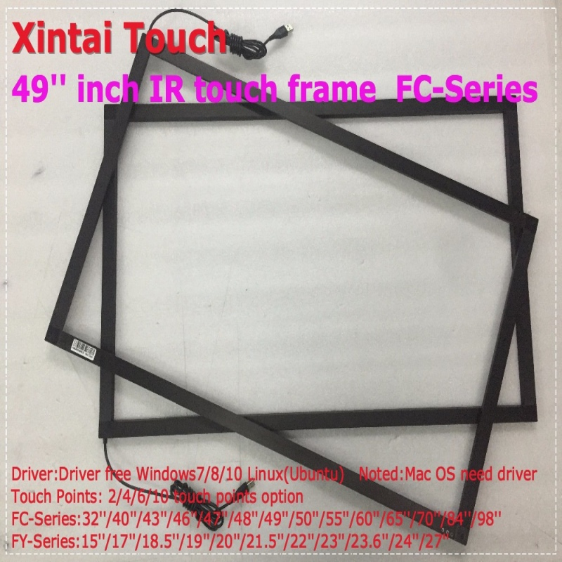 Xintai Touch 49 inch USB IR touch screen / panel, 10 points IR touch frame, IR touch overlay kit for LED monitor free shipping 6 real points 42 ir touch screen panel frame overlay kit for led tv