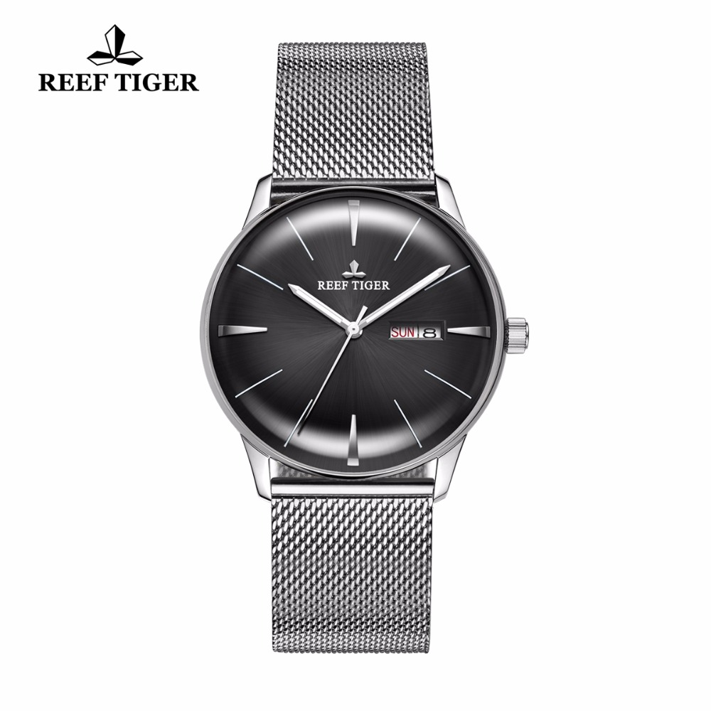 New Reef Tiger/RT Dress Watches for Men Convex Lens Stainless Steel Watch with Date Day Analog Watches RGA8238 lidu dual usb us plug power adapter for cellphones tablet pc more black 100 240v