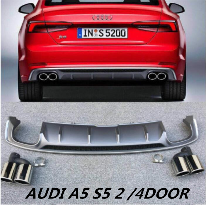 NEW ABS 4 Outlet ABS Rear Bumper Diffuser with Exhaust Tips For 17 18 Audi A5 S5 4 door 2017 2018 2019