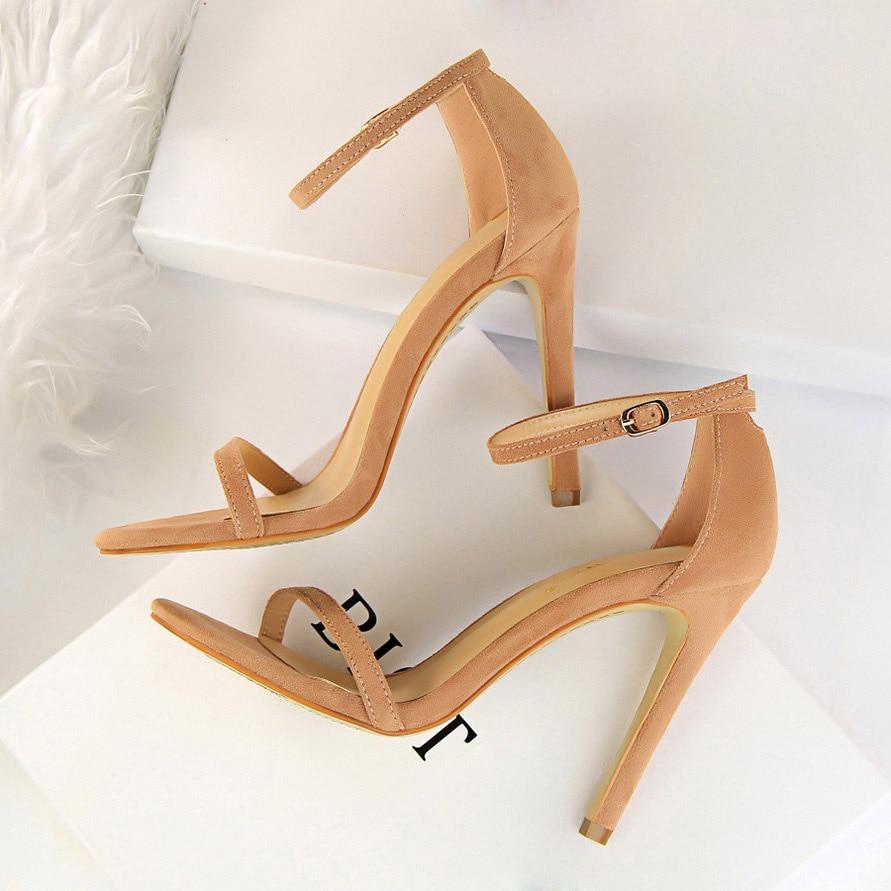HTB12LrmhrorBKNjSZFjq6A SpXaJ 2019 Women Size 40 Flock Extreme 11cm High Heels Fetish Sandals Female Gladiator Cheap Strap Shoes Lady Nude Valentine Red Pumps