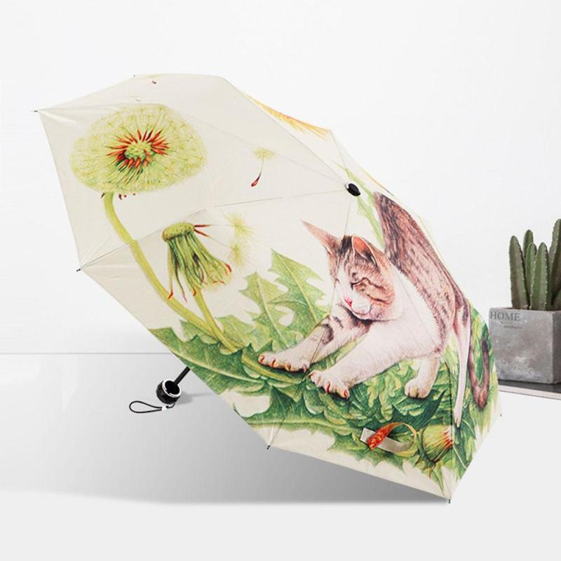 Creative Illustration Ethereal Cat Rain Sun Umbrella Folding Thickening Sunshade Anti UV Women Lady Umbrellas #30