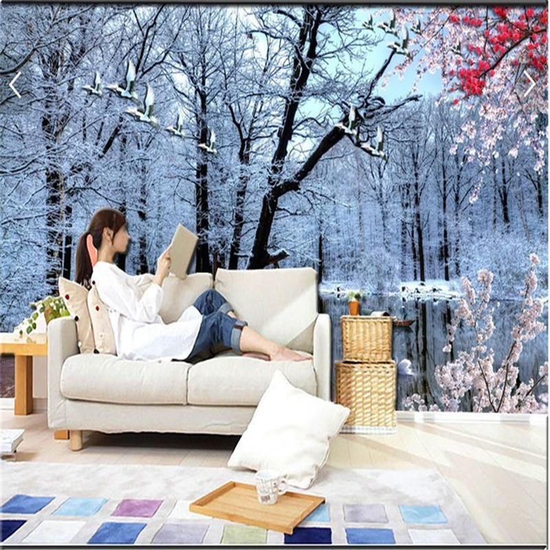 beibehang Large mural Living room sofa TV background papel de parede 3d wall paper Snow forest decoration wallpaper for walls 3d snow background wall papel de parede restaurant clubs ktv bar wall paper roll new design texture special style house decoration