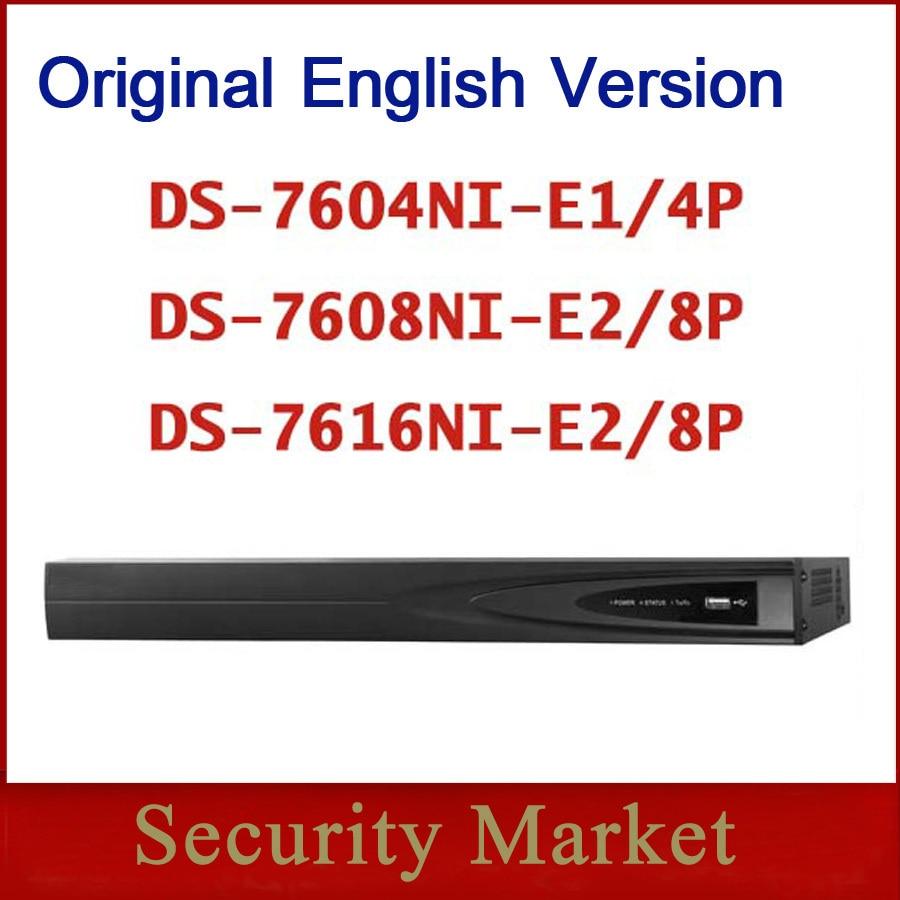 Original hik english version NVR Embedded Plug&Play 4/8/16Ch NVR DS-7604NI-E1/4P and DS-7608NI-E2/8P and DS-7616NI-E2/8P hikvision 1080p cctv system onvif 4ch nvr ds 7604ni e1 4p economic poe nvr plug