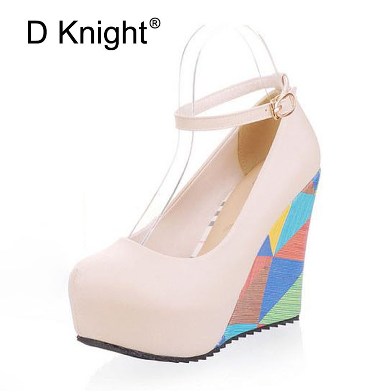 New Women Wedges Shoes Fashion Round Toe Shallow Mouth Ankle Strap High Heels Wegdes Shoes Size 34-41 Ladies Casual Pumps Shoes plus size 34 49 new spring summer women wedges shoes pointed toe work shoes women pumps high heels ladies casual dress pumps