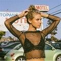 Mulheres erótico sexy ver através de malha t-shirt feminina top colheita chiffon brilhante transparente de renda manga longa camiseta femme N151