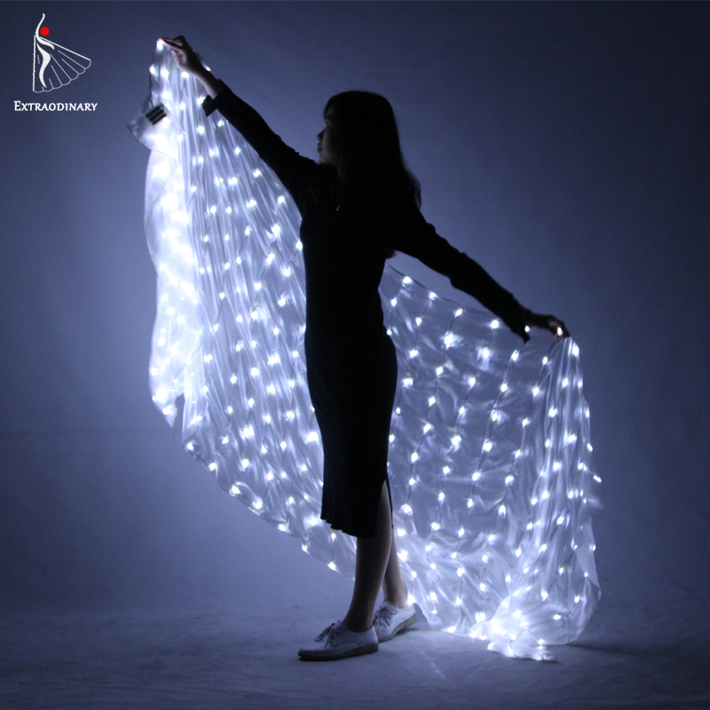 Belly Dancing LED White Silk Veil Seda light up Accessories Flashing Veil For Women Men Stage Performance As Gift