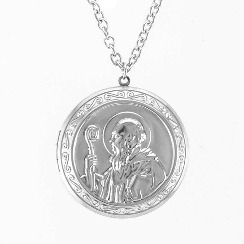 Ojciec naszyjnik medaliony świętego benedykta medaliony ze stali nierdzewnej mężczyzn 44mm duży wisior biżuteria łańcuch rolo naszyjniki prezenty