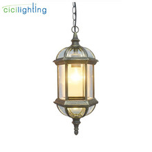 Уличный светильник, балкон, Ретро лампа, пасторальный стеклянный абажур, подвесные лампы, открытый пасторальный светильник, коридор, обеденный подвесной светильник s