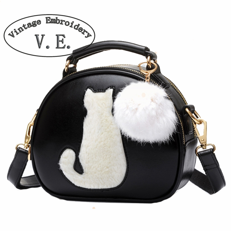 Vintage Women Crossbody Bags Ladies Leather Handbags With Fur Ball Cat Printing Woman Shoulder Messenger Tote Bag Bolsos Mujer