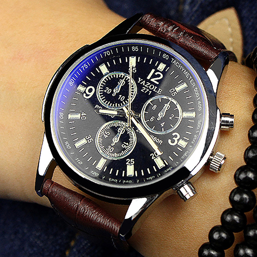 Unisex Military Business Stainless Steel Case Faux Leather Analog Quartz Watch