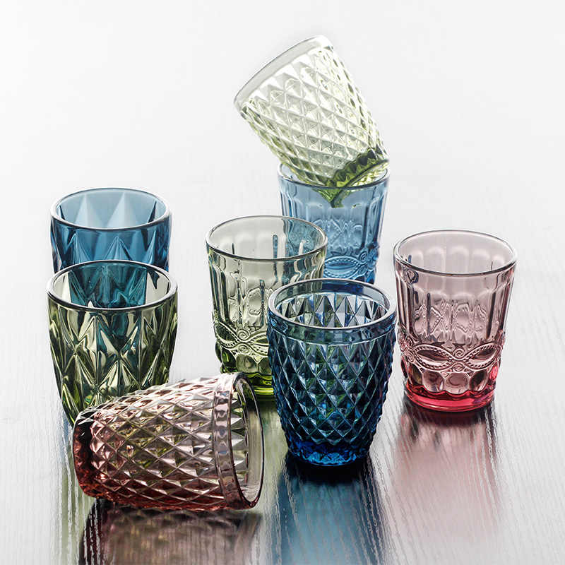 Colorful Glass Embossed Wine Cup Retro Heat Resistant Water Cup Creative Wine Glasses Whiskey Tea Straight Drink Mug