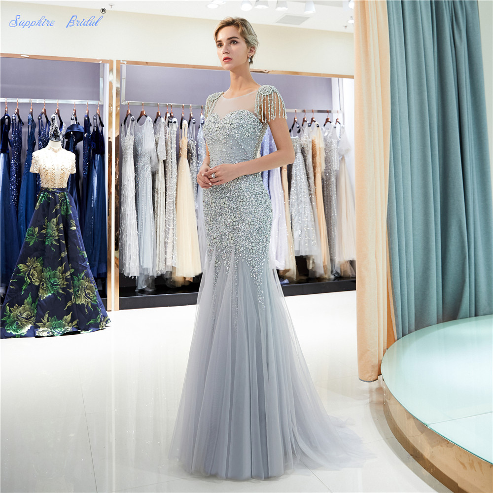 b4beaa13914 Sapphire Bridal Sparkly Huge Beads Women's Long Party Gown Top Quality  Mermaid Gold Silver Grey Sexy Tassel Formal Evening Dress
