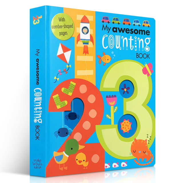 My Awesome Counting Book English board Books Baby kids math learning educational book with number shaped pages