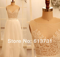 2014 Real Sample Scoop Neckline Ivory Sheer Lace Top Prom Dresses Long V Back Evening Party Gown Floor Length