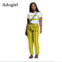 Adogirl Leopard Letter Print Two Piece Set O Neck Short Sleeve Women T Shirt Top +Bow Tie Pockets Pants Fashion Sporty Tracksuit frilled tie neck petal sleeve top