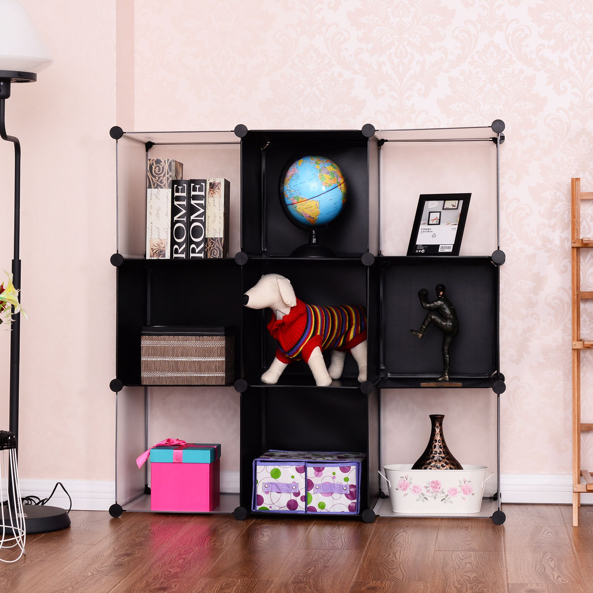 Giantex 3 Tier 9 Cubic Bookcase Living Room Storage Cabinet Shelf Modern DIY Closet Organizer Office Home Furniture HW54798