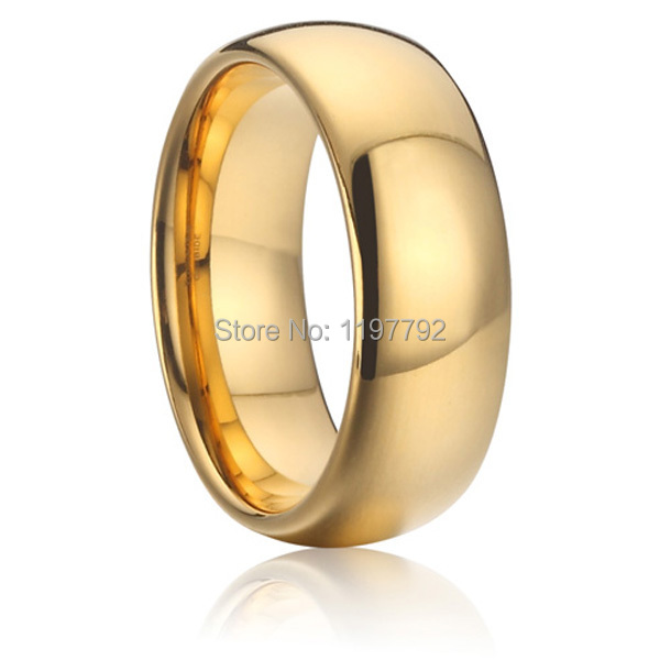 discount cheap 8mm gold colour health fashion jewelry pure titanium steel rings wedding band rings for men and women anel