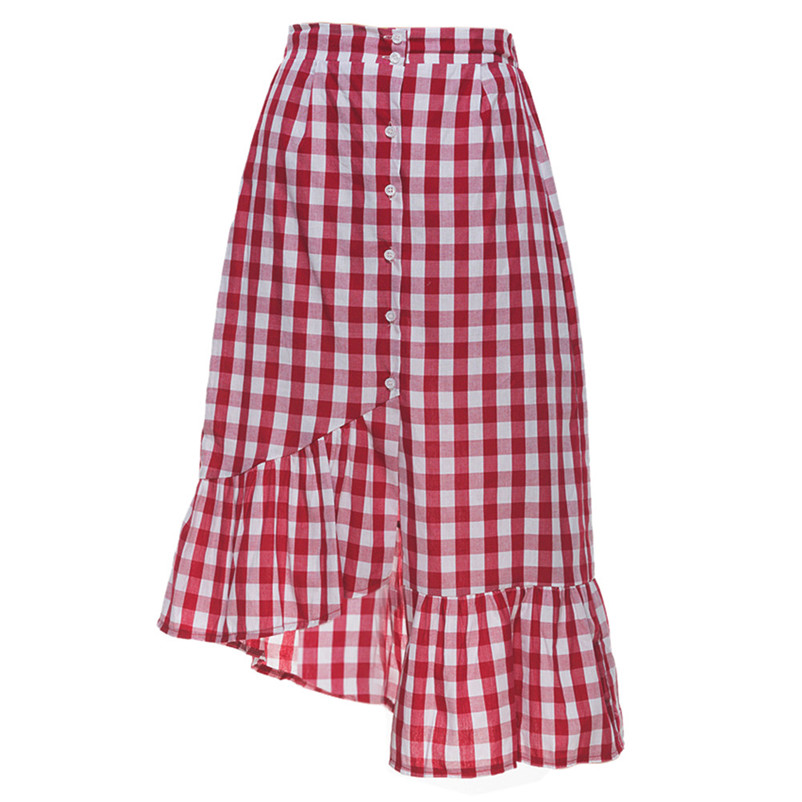 New Fashion 2018 Summer style skirts womens Plaid Casual Ruffled Button Party Slit High Waist Mid-Calf Skirt Femme Saia Y18#N (7)